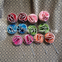 custom solid color mens flower lapel ling stitch pin