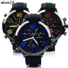 New fashion v6 vogue sport stainless steel case back watch men silicone strap