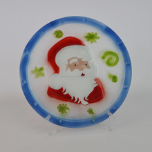 new product launch in china designer fused glass plate bule glass plates Santa Claus picture glass plate made in China