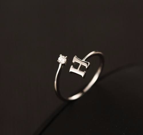 925 Silver Letter H Cutomized Ring Alphabet Initial Ring