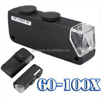 New Mini Handheld 60X-100X Zoom Magnifier Microscope Jewelers Loupe Magnifying Glass LED Light Free Shipping