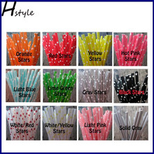 Red And Green Star Paper Straw with decoration products SC043