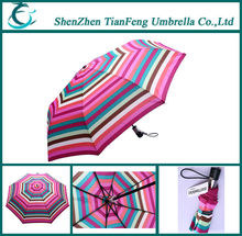 Automatic wind-proof three folding umbrella