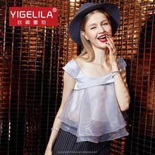 YIGELILA 7283 Sexy Womens Sleeveless Beautiful Solid Gray Organza Bubble Tops Clothing Stores Online