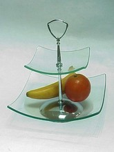 Simple Design Standing Glass Kitchen 2 Tier Fruit Tray