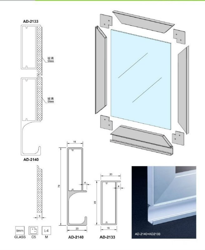 Aluminum extrusion aluminum extrusion glass frame for Glass door frame