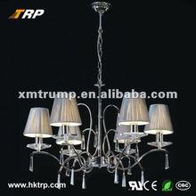 Crystal chandelier lighting with fabric covering