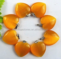 Orange cat eye 20x6mm gemstone heart pendant
