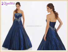 hot sale wholesale price navy blue strapless sweetheart embroidered A-line taffeta back lace up ball gown prom dresses