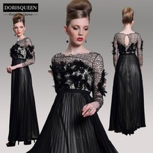 DORISQUEEN wholesale 2014 new arrival applique crystal floor length sexy long elegant black long sleeve evening dress