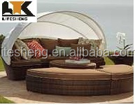 Canopy Bed Outdoor Daybed Rattan Lounge Beach Bed Rattan Sunbed