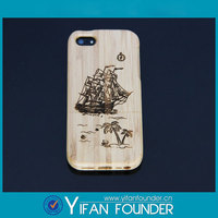 Bamboo design shiny skin phone case logo carved case for iPhone5 5s
