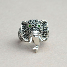hot sale fine micro pave setting elephant silver jewelry ,Elephant silver ring