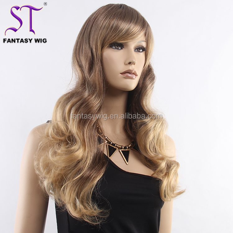 Wholesale Cheap Long Curly Public Hair Wig Ombre Brown 25