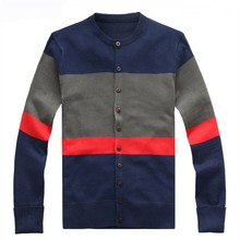 Men's fashion stripe 100% cotton cardigan sweaters in 12gg