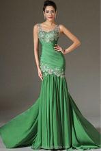 Ladies Western Dress Strap Appliqued Flower Bridesmaid Dress