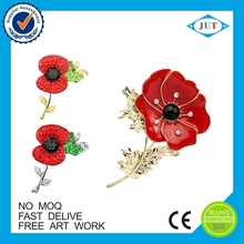 Europe Regional Feature and Art & Collectible Use Metal Poppy Lapel Pins