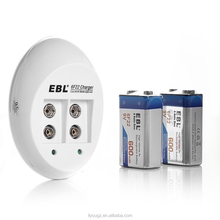 HOT!!! EBL 840 9V Li-ion Ni-MH NI-CD Battery Charger with 600mAh Lithium-ion Rechargeable 9 Volt Batteries (2 Pack)
