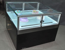 Glass top display for Small Chocolate Refrigerator Island