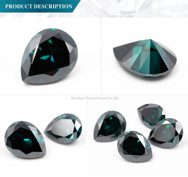 Fabricação de preço baixo em moissanite Diamante pear cut Verde Escuro, personalizado pêra cor moissanite