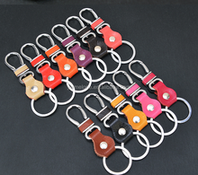 2015 new metal key chain with colorful blank genuine leather key chain