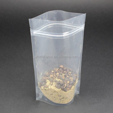 Square bottom plastic zip lock stand-up pouch for packaging food and easy tearing slip