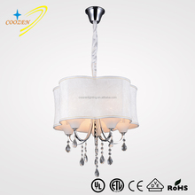 GZ10029-5P large fabric shade pendant lamp with crystal, 5-light