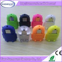 colorful otg mini robot shape usb dual port android phone with usb otg