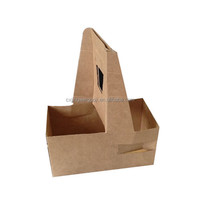 Portable Take away Disposable Corrugated Kraft Paper Coffee Cup Drink Carrier, Paper Cup Holder with handle for 2 cups