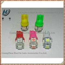 wedge base w5w t10 5 smd multicolor led car bulb
