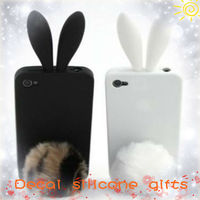 Two color rabbit shaped design rubber silicone cell phone cover