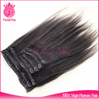 cheap 100% human hair kinky straight double drawn clip in hair extensions for black women