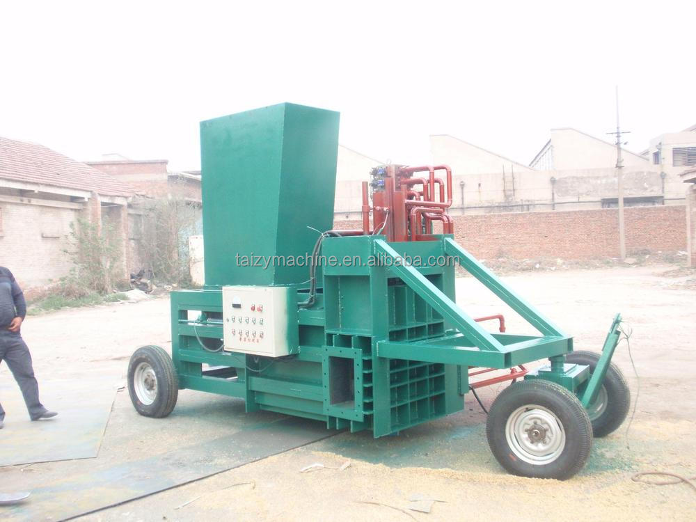 Horizontal hydraulic baling press machine sawdust wood