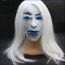 Halloween Prank toys horror white long hair ghost mask with blood