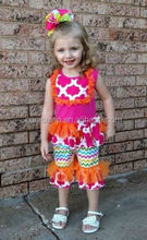 Gorgegous girls boutique outfits summer teen girl clothing set china export girls ruffle toddler sets