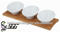 Trend Style Wooden Buffet Tray with Ceramic Bowls/ Buffet Ceramice Bowl Set with Wooden Serving Tray