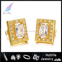 crystal jewelry18K gold square earring,door shape diamond dangler earrings