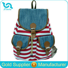 Stock Whosale Factory Direct Canvas Drawstring Cover Striped Stripe Printing Vintage Backpack for Girls