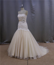 New design opulent brush train sexy wedding dress for mature bride