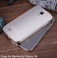S4 Ultra thin Metal Aluminum + Acrylic glass back Bumper for samsung Galaxy S4 S IV SIV i9500 Case Matte Surface