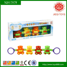 Funny baby toy plastic pull bear toy 4PCS pull toy bear for kids
