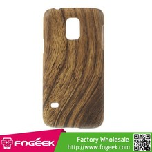 Wood Grain Leather Coated Hard Back Case for Samsung Galaxy S5 Mini SM-G800