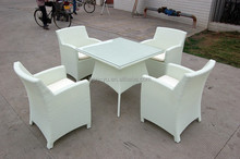 hot sell outdoor furniture hotel patio dining table chairs white rattan table and chairs