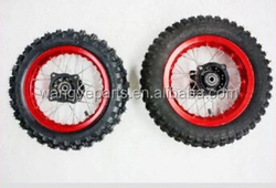 "Red 10"" Inch Front and Rear Alloy Wheel Rim Knobby Tyre Tire PIT PRO Trail Dirt Bike Parts"