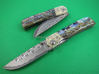OEM NEW sharp liner lock Abalone damascus hunting knife UDTEK01951