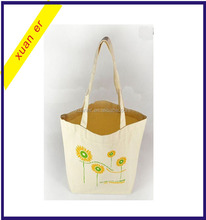 Beautiful flower pattern custom printed foldable cotton shopping tote bag