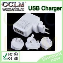 high quality four 4 usb charger with UK plug EU plug US plug and AU Australian for cell phone