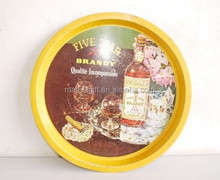 Antique Old Khoday's Five Star Brandy Bar Tin Round Shape Serving Tray