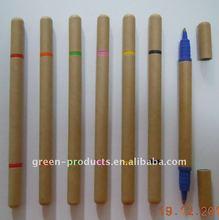 new green kraft paper double sided ball pen 2 in 1 pen (TNP012D)