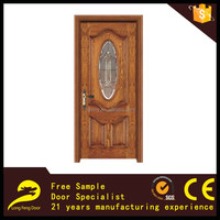 new oval glass insert design solid wood entry door